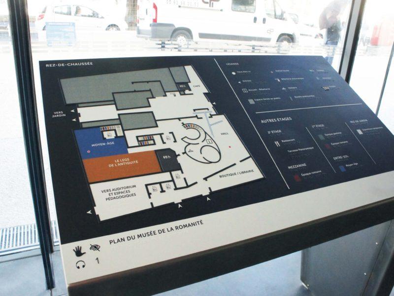 Plan de déplacement tactile accessible tout public du Musée de la Romanité